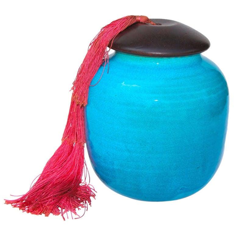 Jean Besnard Crackled Turquoise Glazed Pottery Vase