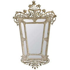 Art Nouveau Mirror With Etched Stars