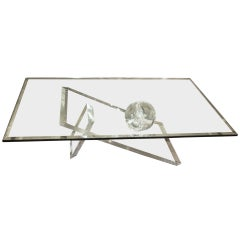 Glass Topped Lucite Base Table