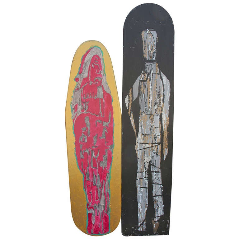 Two Painted Wood Ironing Boards by Woodstock Graffiti Artist Michael Heinrich