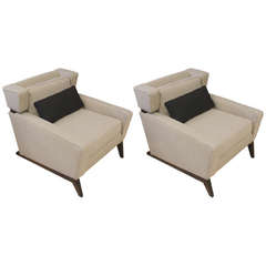 Great Pair of Unusual Midcentury Sleigh Leg Wingback Chairs