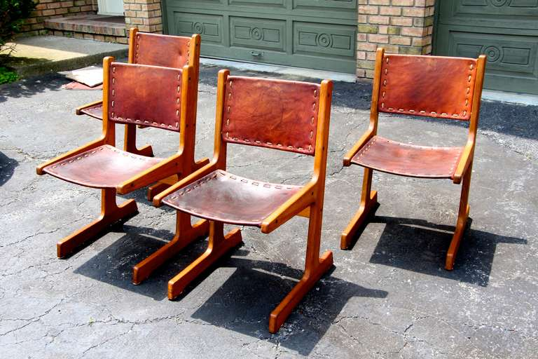 "Southwest Style Leather And Wood Chairs Labeled ""Artesano"