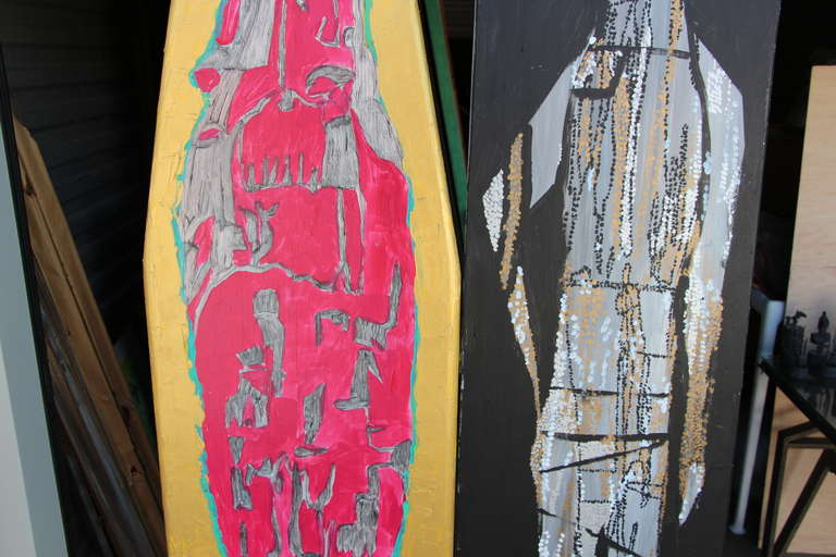 American Two Painted Wood Ironing Boards by Woodstock Graffiti Artist Michael Heinrich For Sale