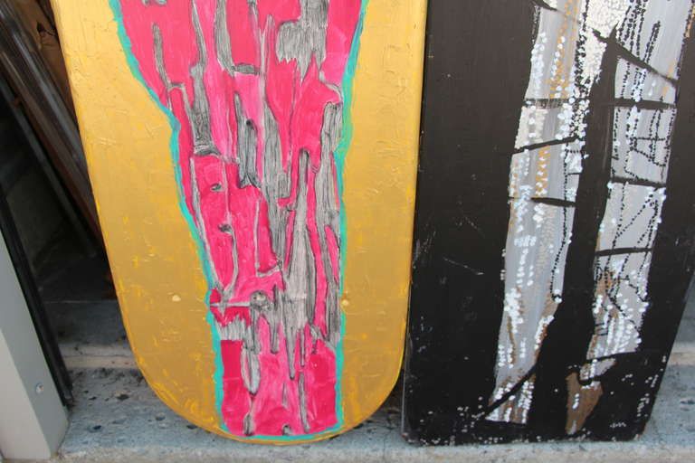 Two Painted Wood Ironing Boards by Woodstock Graffiti Artist Michael Heinrich In Good Condition For Sale In Palm Springs, CA