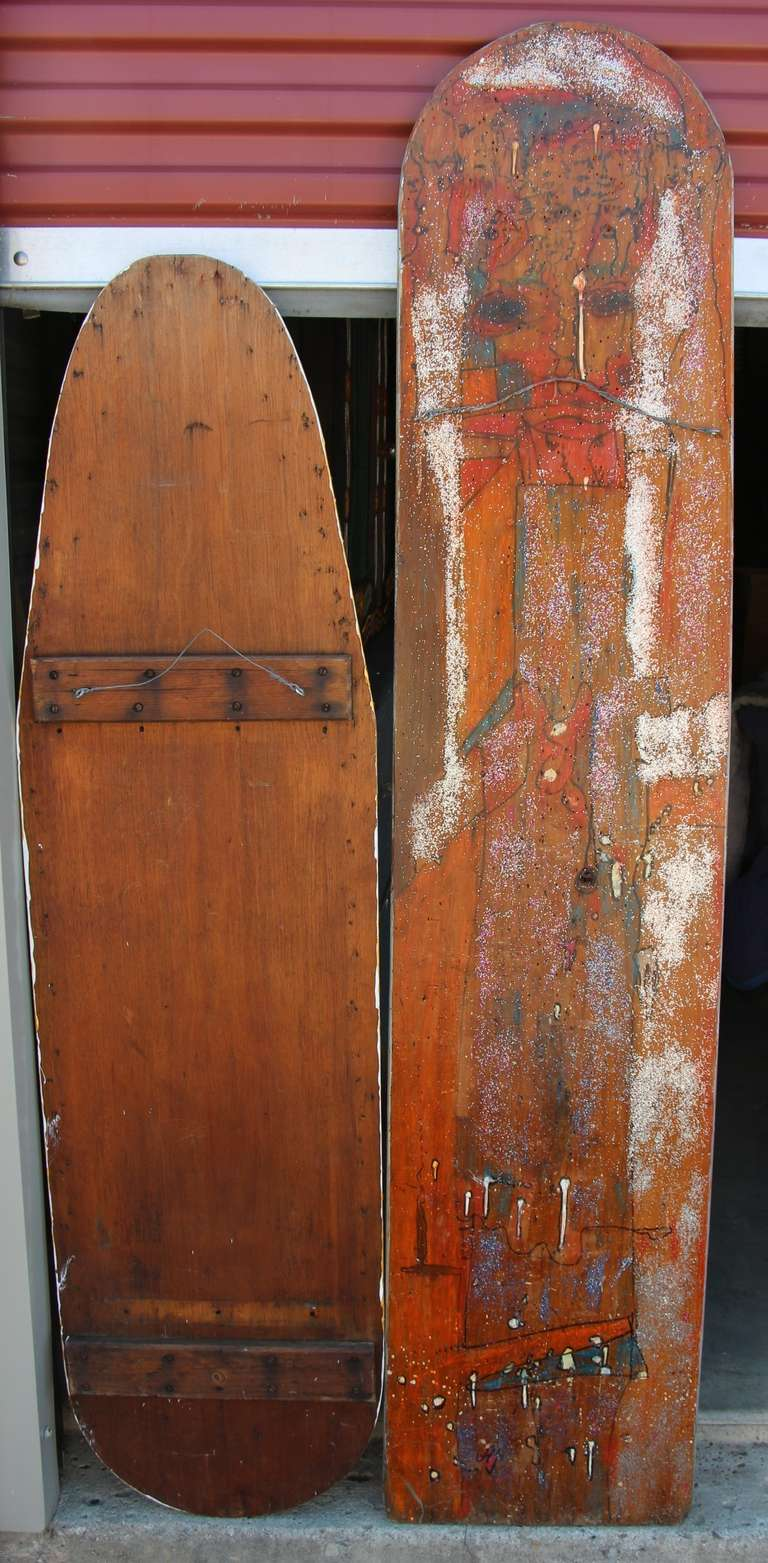 Two Painted Wood Ironing Boards by Woodstock Graffiti Artist Michael Heinrich For Sale 2