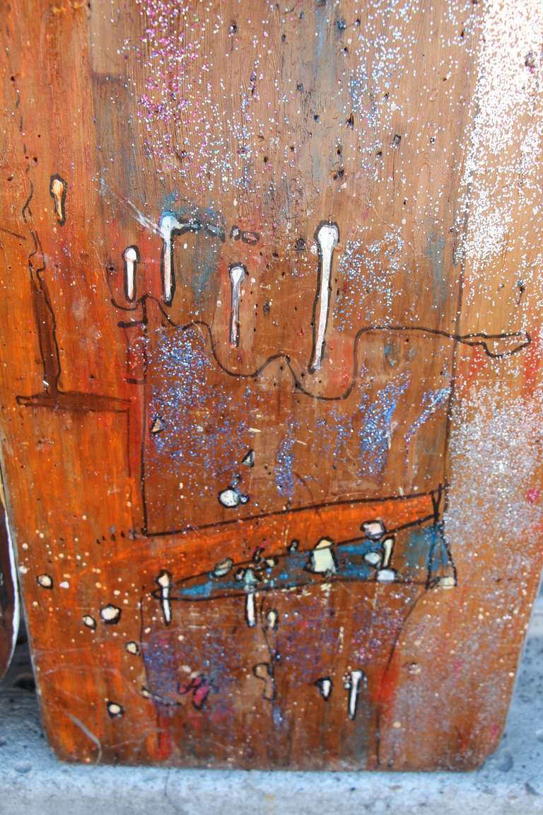 Two Painted Wood Ironing Boards by Woodstock Graffiti Artist Michael Heinrich For Sale 4