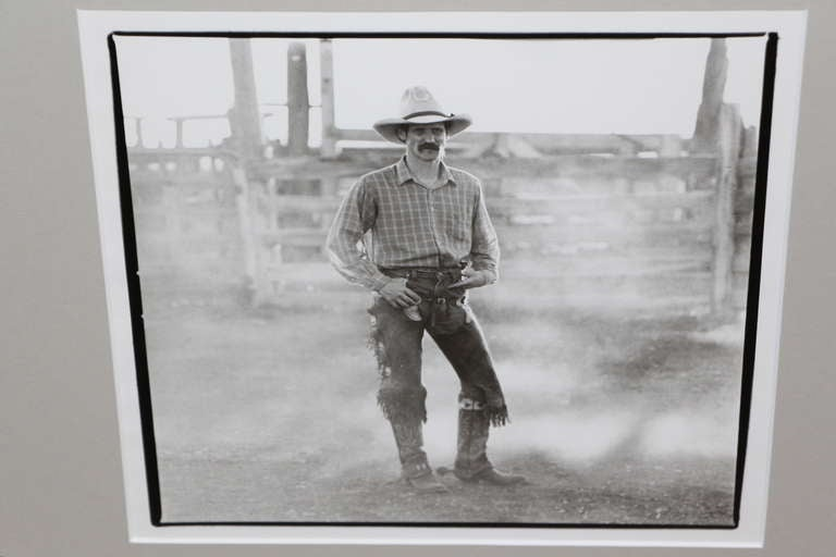 A great silver gelatin photograph of a cowboy. This is from the same estate collection of photographs we recently had framed. We believe they date from the 1970s. No idea as to the photographer. Newly framed and matted.