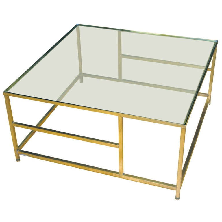 Asymmetrical Brass Coffee Table With Glass Top For Sale At