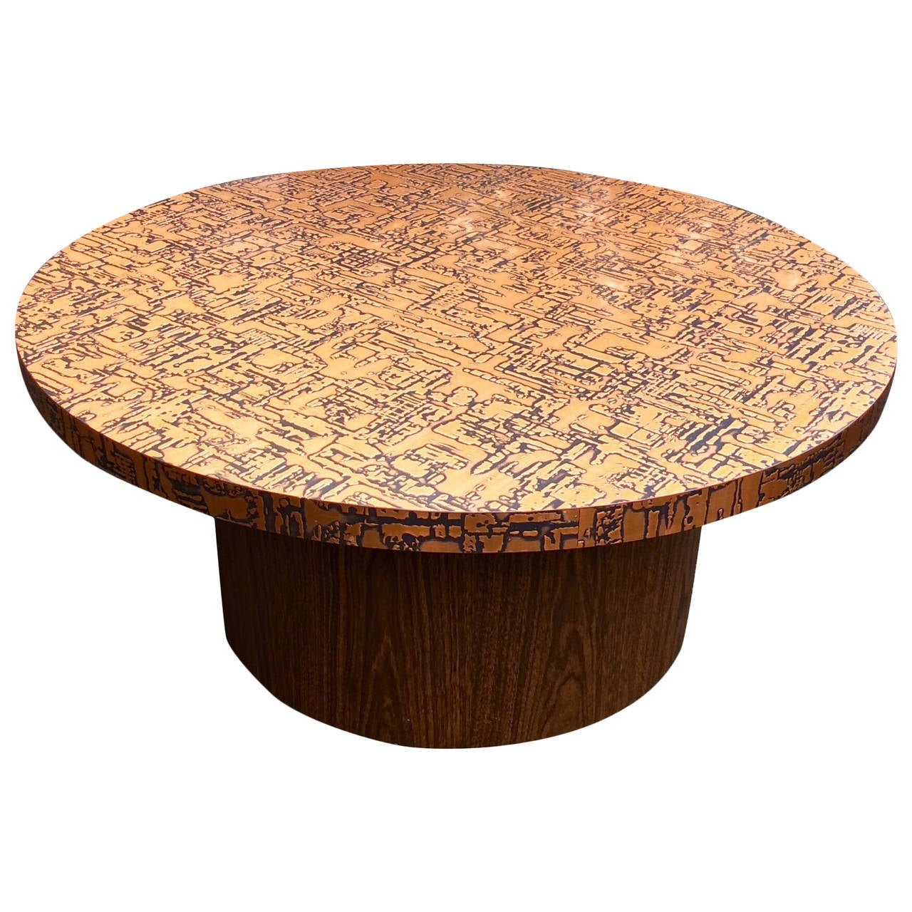 Copper Kettle Drum Coffee Table: Copper Clad Abstract Pattern Coffee Table At 1stdibs