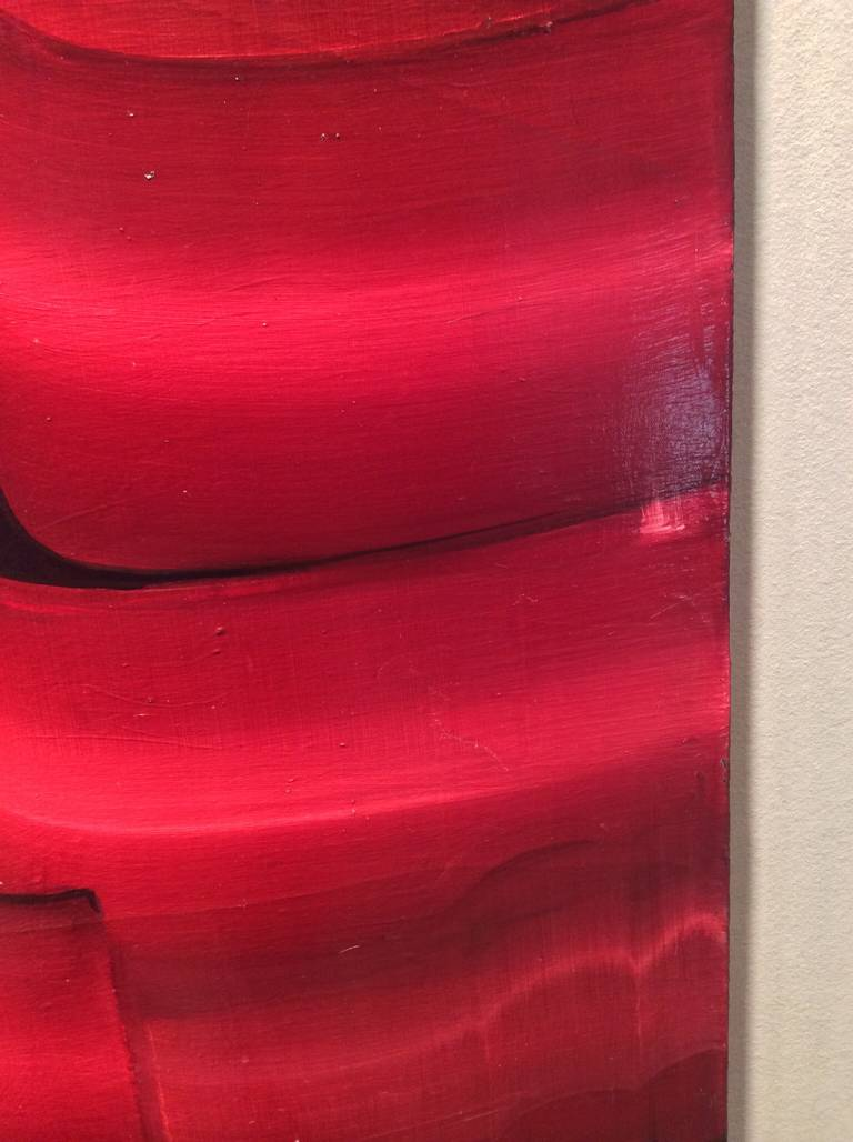 Stunning Large Red Abstract by Noted Ny Artist Marianne Stikas 3