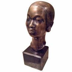 Marc Laguey Asian Bronze Bust of a Woman