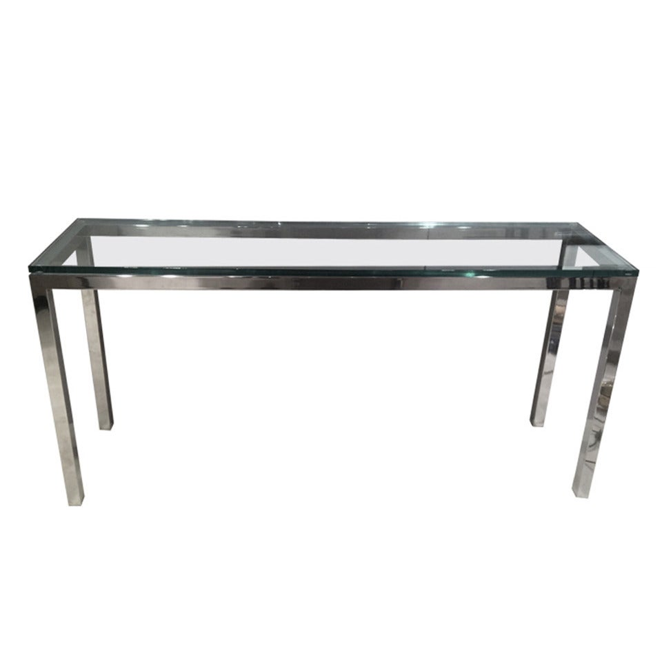 Chromed Steel and Glass Console Table