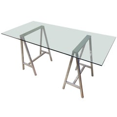 Glass Top Aluminum Saw Horse Leg Table or Desk