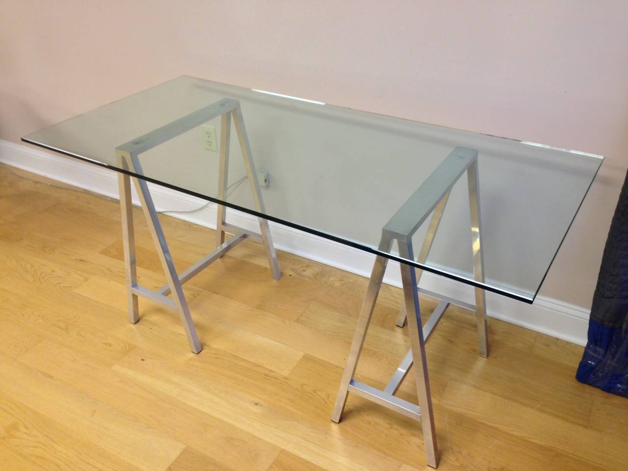 glass desk table tops. a nice glass top table or desk with saw horse aluminum legs. they are high tops e