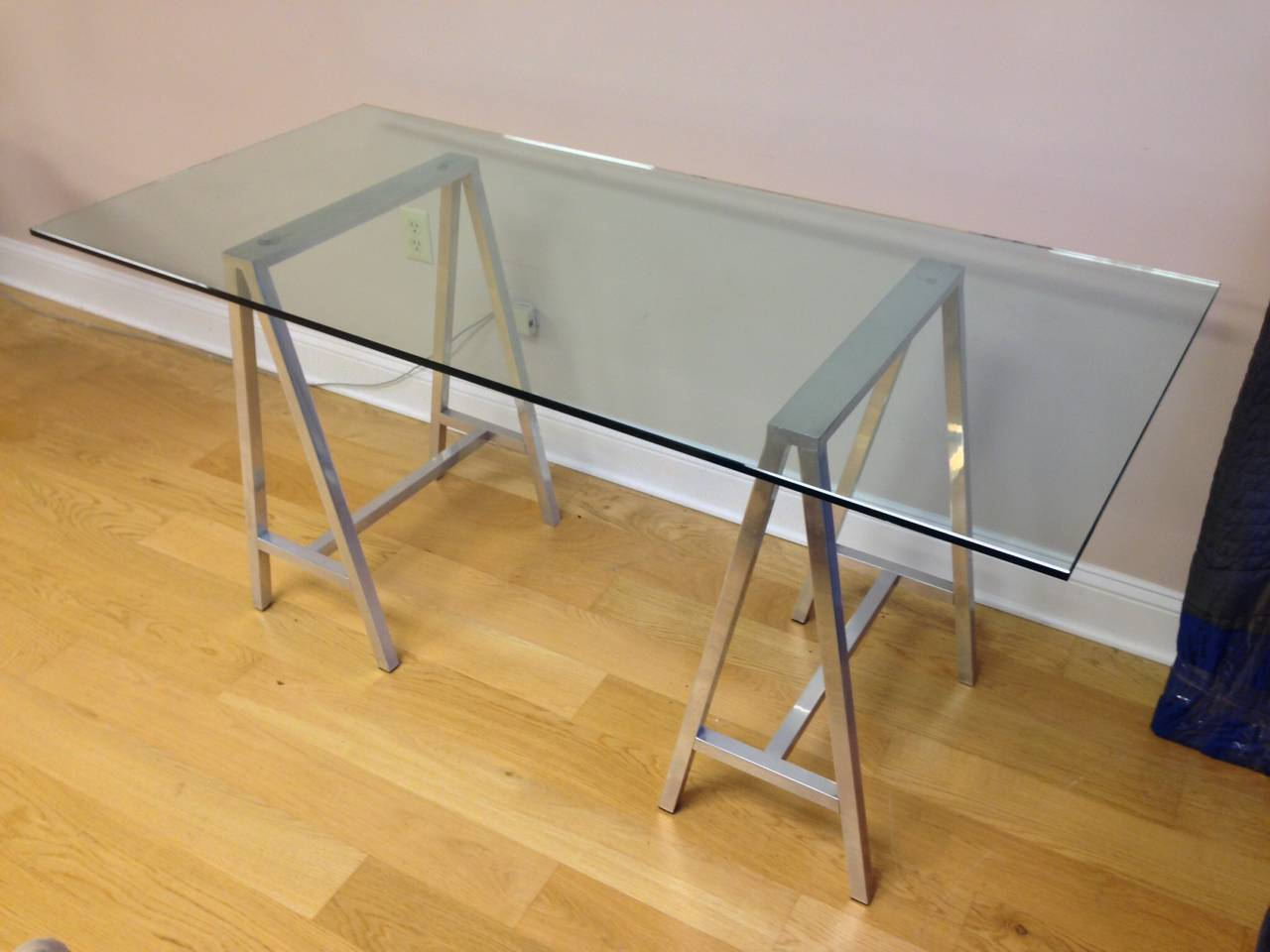 American Glass Top Aluminum Saw Horse Leg Table Or Desk For