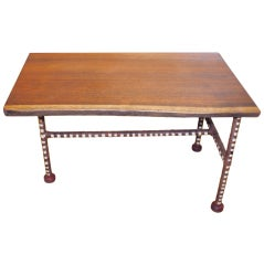 Nice Mahogany Free Edge Table with Leather Wrapped Legs