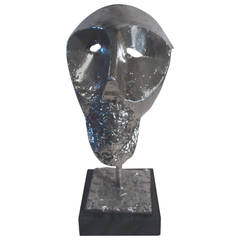 Abstract Cast Metal Bust on Marble Base