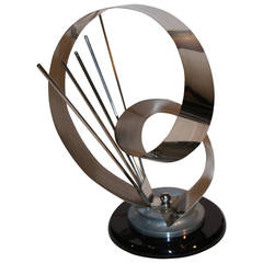 Signed Shlomi Haziza Metal Abstract Sculpture