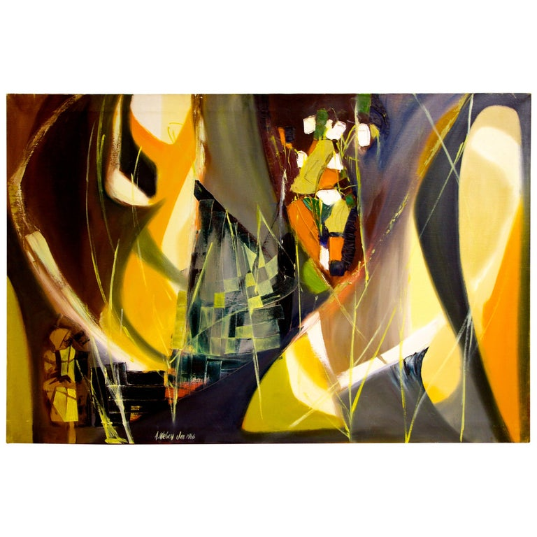 Arnold Weber, 1966 Abstract Painting For Sale
