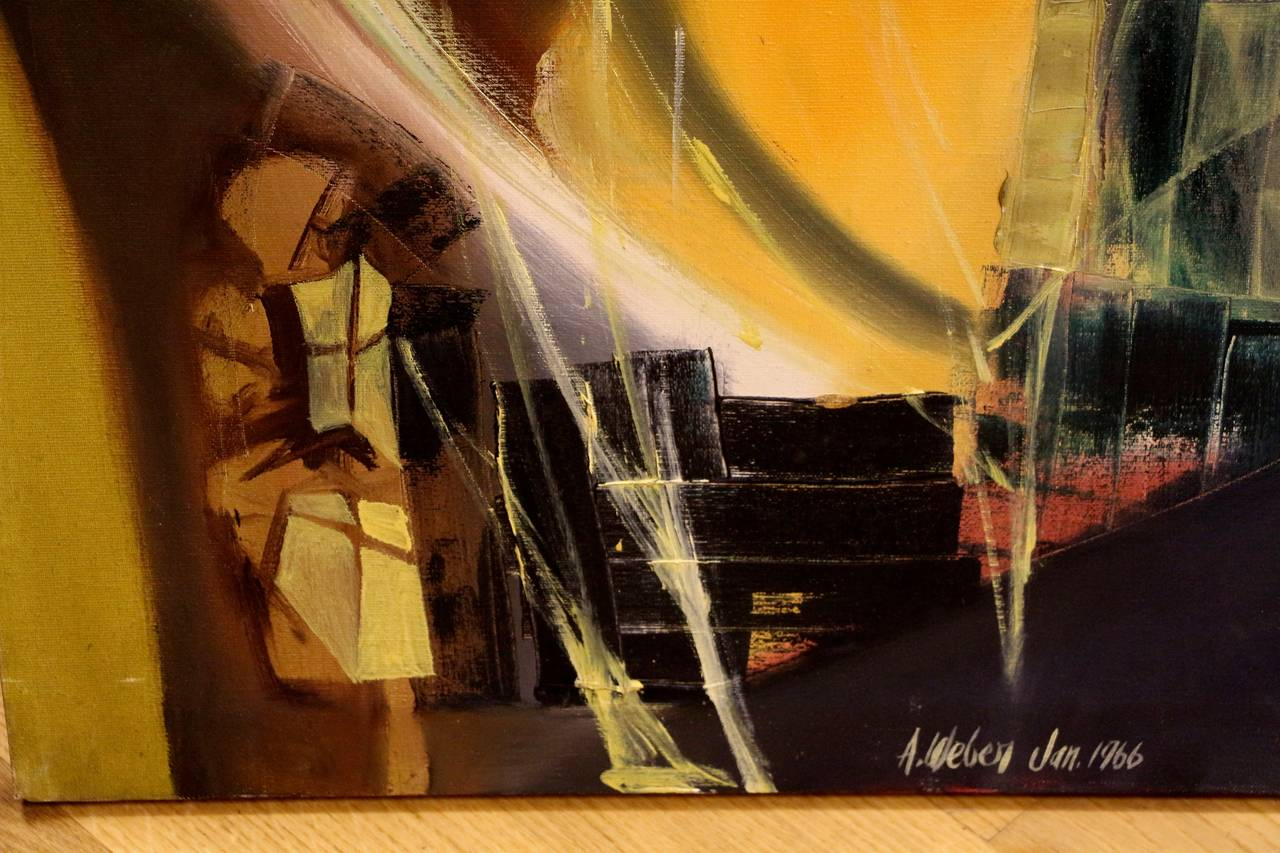 Arnold Weber, 1966 Abstract Painting In Good Condition For Sale In Palm Springs, CA