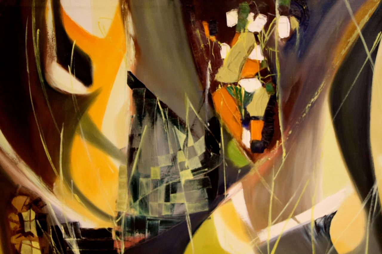 Canvas Arnold Weber, 1966 Abstract Painting For Sale