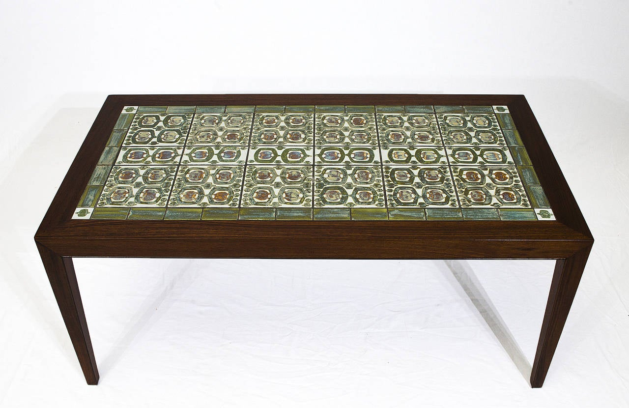 Scandinavian Modern Rosewood Coffee Table With Royal Copenhagen Tiles For  Sale