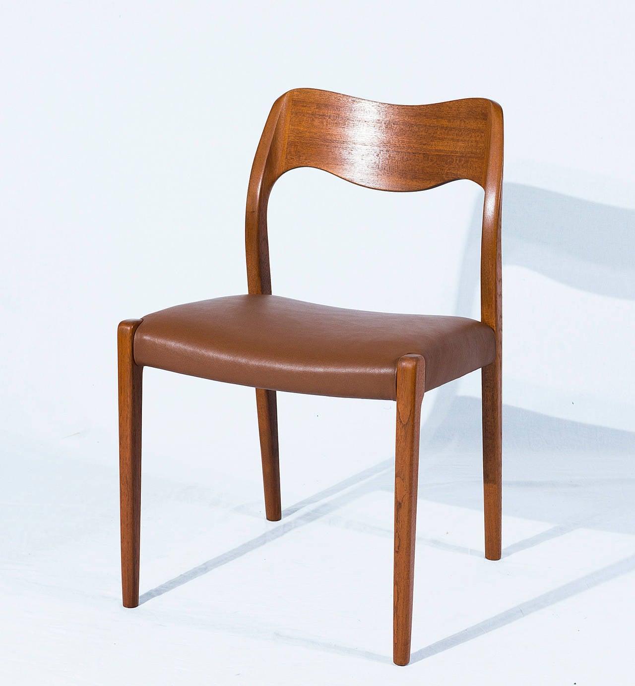 Danish Set of Six Teak Niels Møller Model No. 71 Dining Chairs