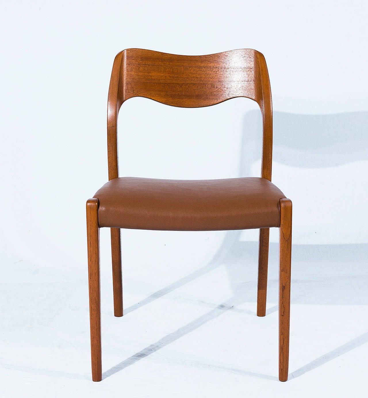 Scandinavian Modern Set of Six Teak Niels Møller Model No. 71 Dining Chairs