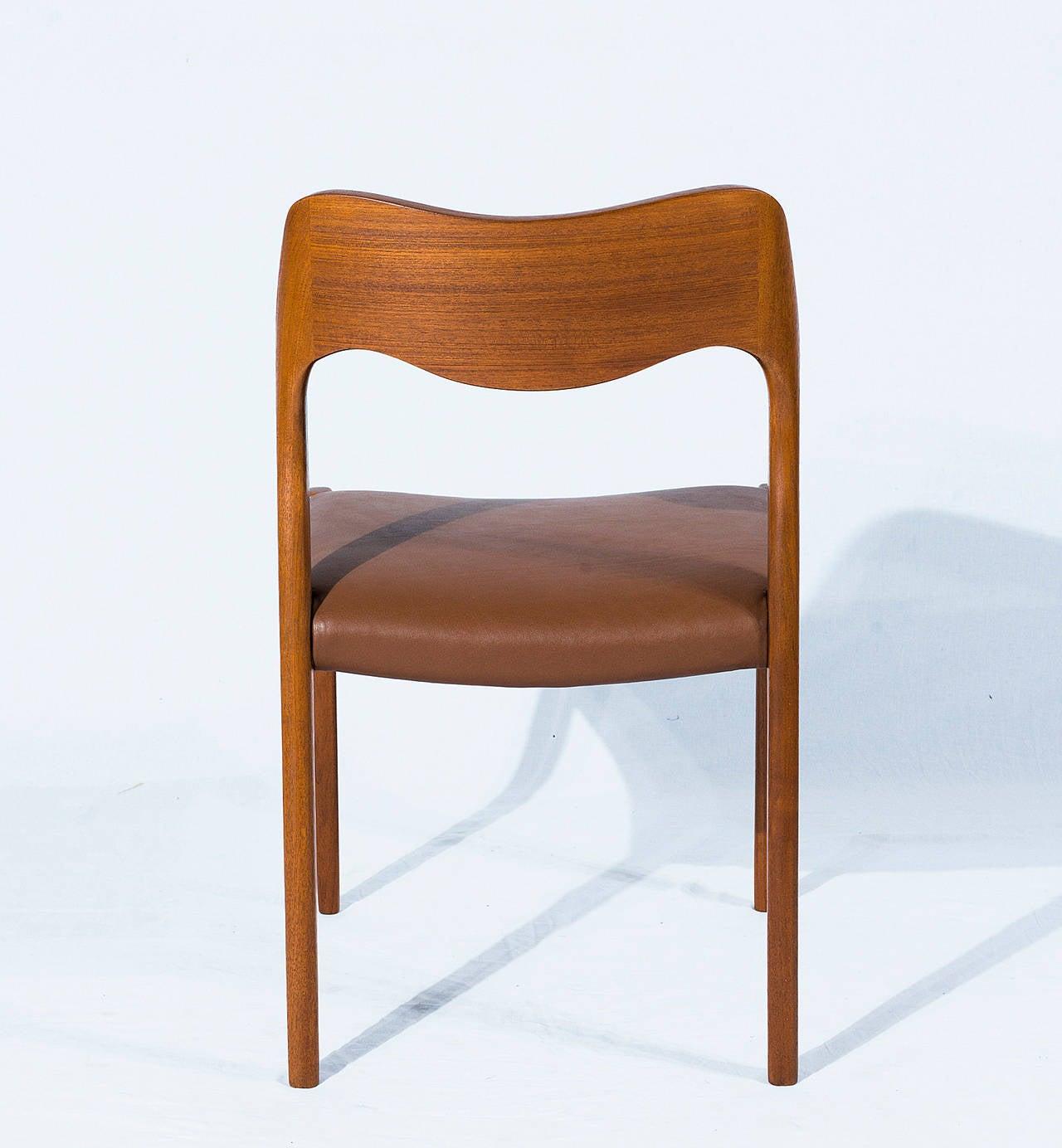 Mid-20th Century Set of Six Teak Niels Møller Model No. 71 Dining Chairs