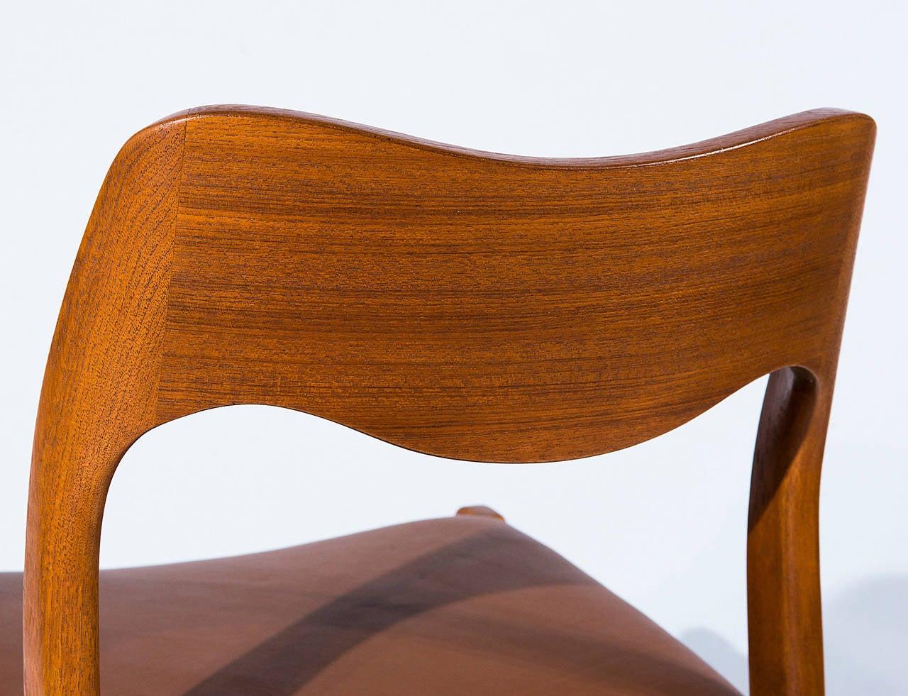 Set of Six Teak Niels Møller Model No. 71 Dining Chairs 1