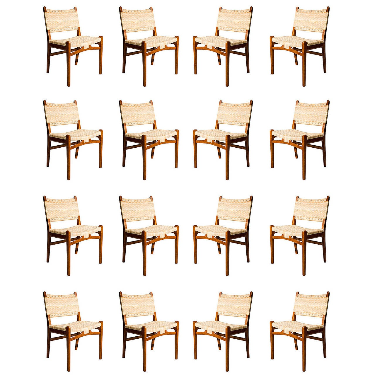 Set of 16 hans wegner ch31 dining chairs at 1stdibs for Dining room tables that seat 16