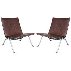 Pair of Poul Kjaerholm PK22 Lounge Chairs