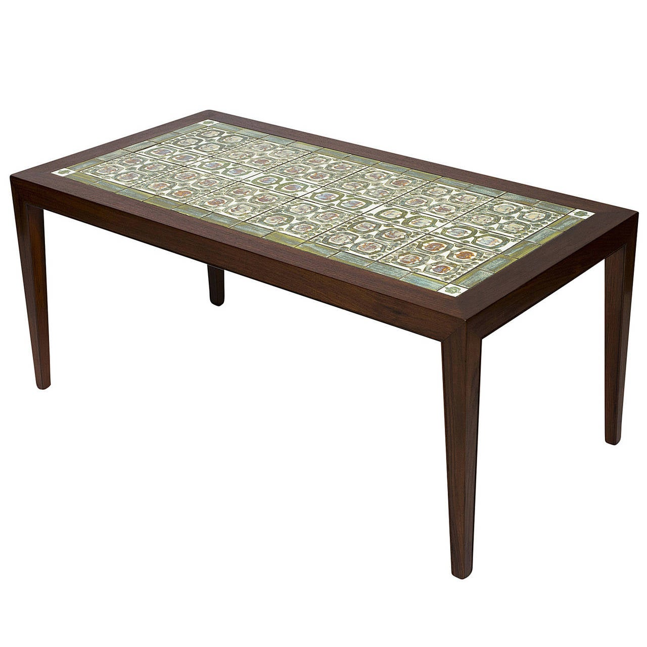 Rosewood Coffee Table With Royal Copenhagen Tiles 1