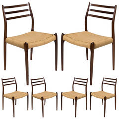 Set of Six Niels Møller Model 78 Dining Chairs