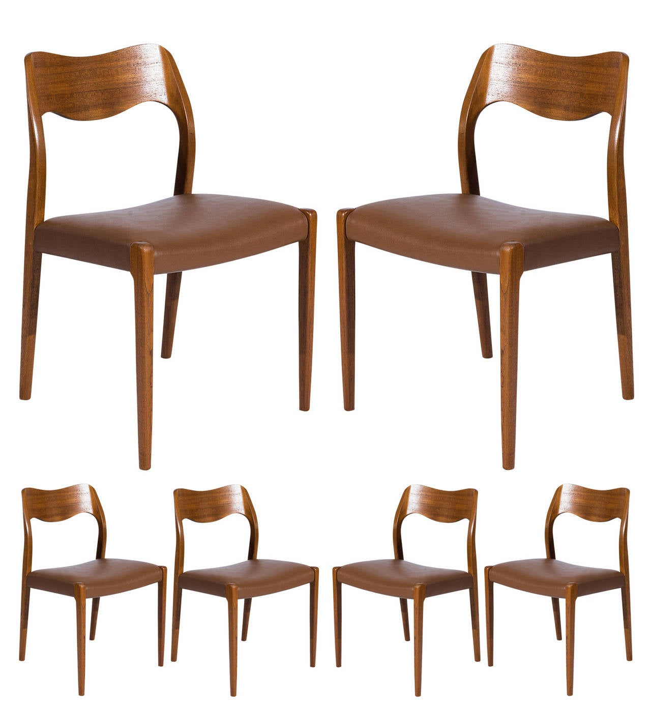 Set of Six Teak Niels Møller Model No. 71 Dining Chairs