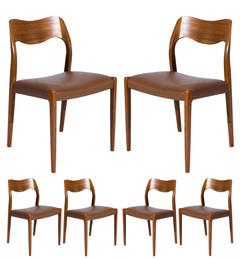 Set of Six Teak Niels Møller Model No. 71 Dining Chairs