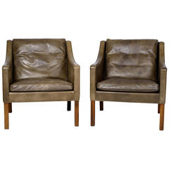 Pair of Børge Mogensen Model #2207 Leather Lounge Chairs