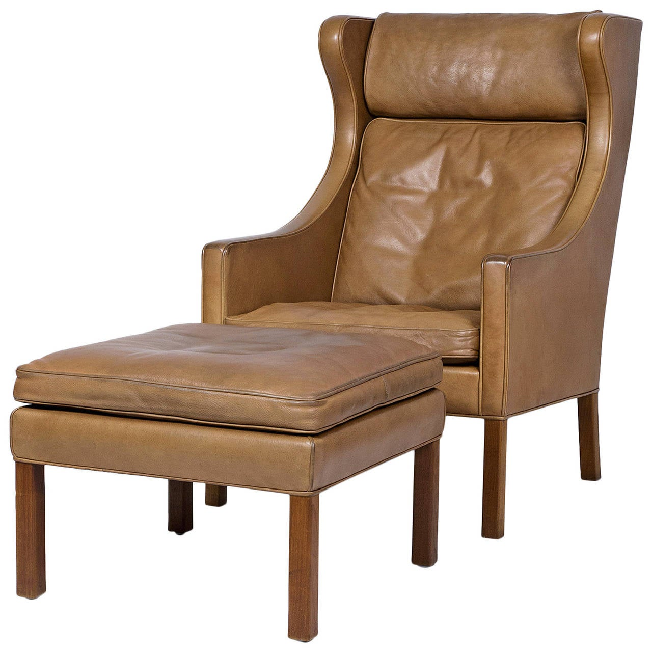 Børge Mogensen Leather Wingback Chair And Stool 1