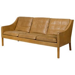 Borge Mogensen Model #2209 Three-Seat Leather Sofa