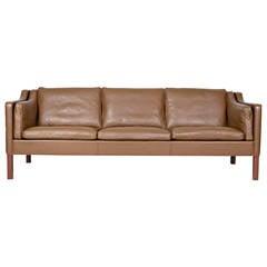 Borge Mogensen Model #2213 Three-Seat Leather Sofa