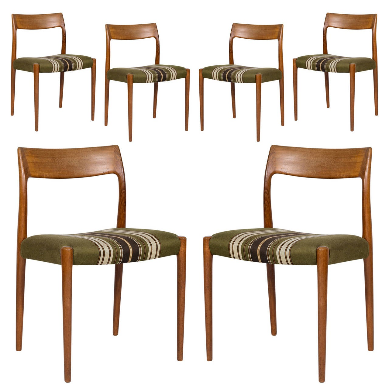 Set Of Six Niels Møller Model #77 Dining Chairs 1