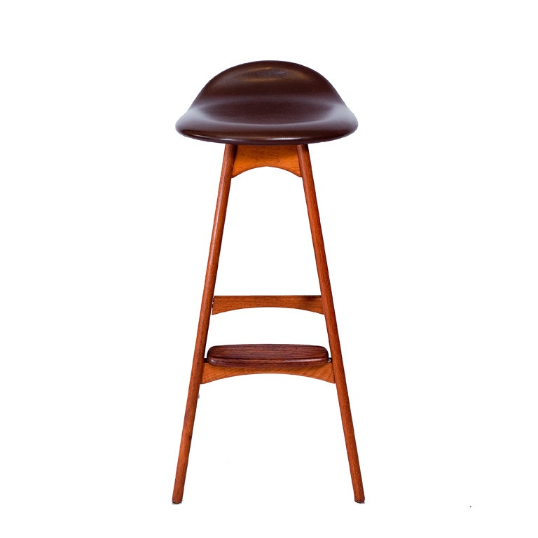 Set of three Erik Buck bar stools produced by Oddense Maskinsnedkeri A/S.  Store formerly known as ARTFUL DODGER INC