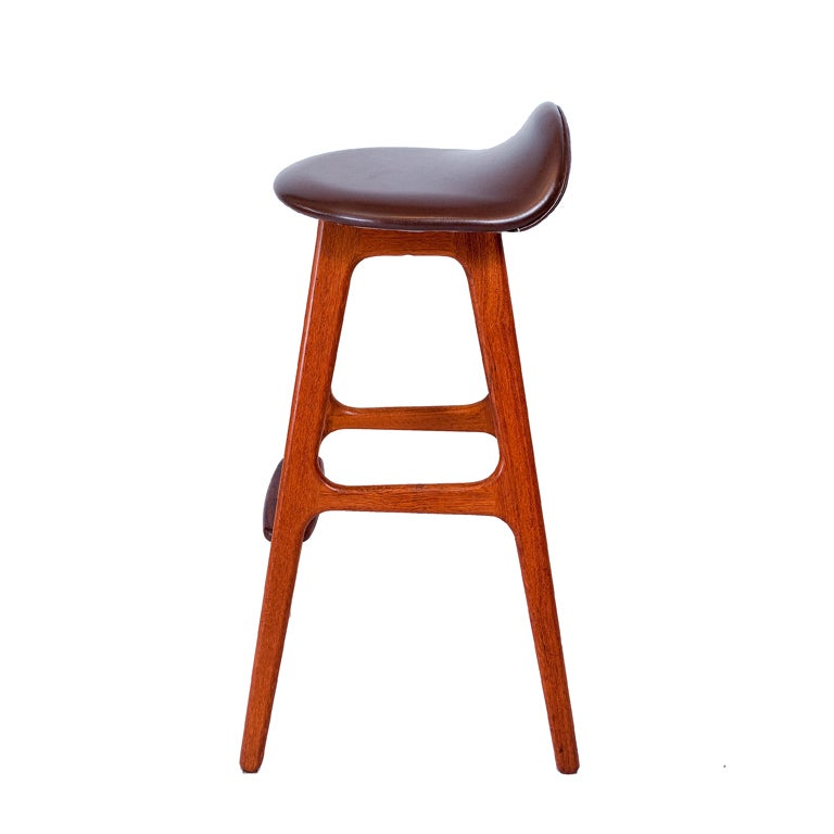 Scandinavian Modern Set of Three Erik Buck Bar Stools