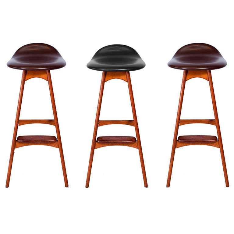 Set of Three Erik Buck Bar Stools