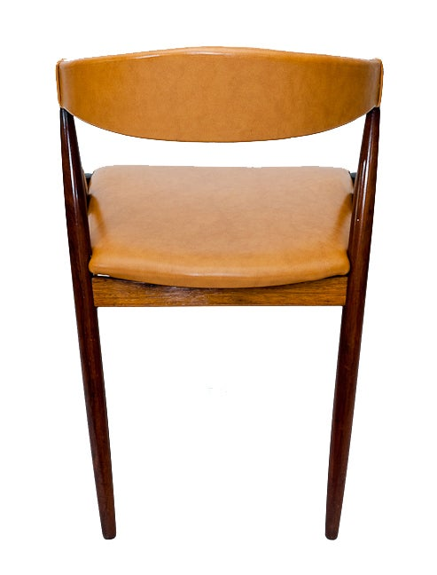 Fabric Set of Six Rosewood Kai Kristiansen Chairs For Sale