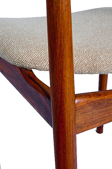 Fabric SET of 4 ROSEWOOD ROSENGREN HANSEN DINING CHAIRS For Sale