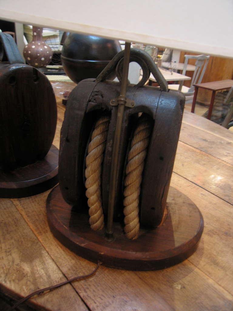 Pair Vintage Block And Tackle Lamps At 1stdibs