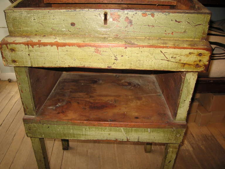 Primitive Painted Tall Desk For Sale at 1stdibs