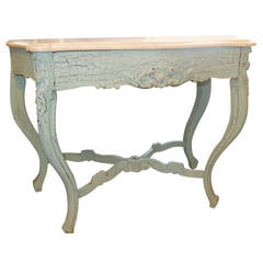 Charming Marble Top Console in Old Paint