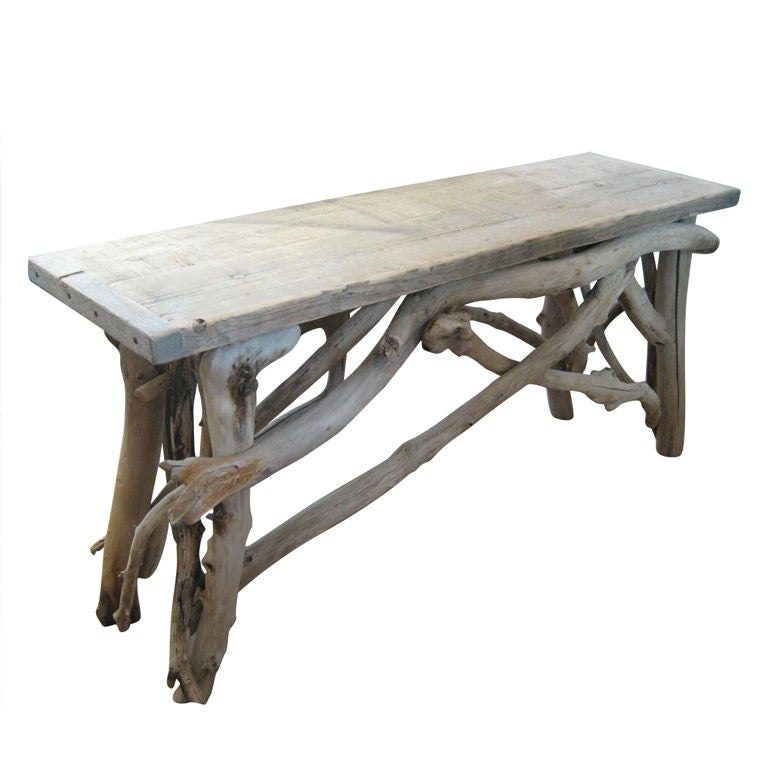Handsome Bleached Driftwood Console Table At 1stdibs